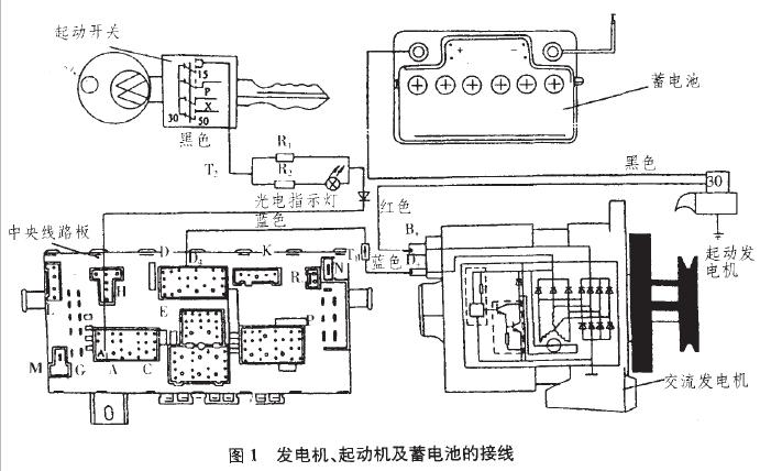 起动机及蓄电池的接线图